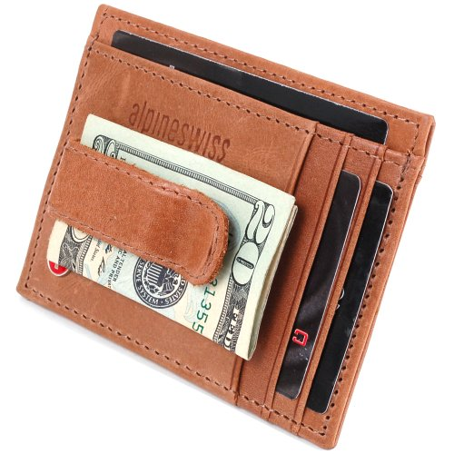 alpine swiss rugged pullup leather hand crafted mens - Mens Money Clip Credit Card Holder